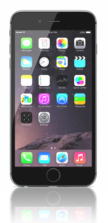 Space Gray iPhone 6 Plus showing the home screen with iOS 8.The new iPhone with higher-resolution 4.7 and 5.5-inch screens, improved cameras, new sensors, a dedicated NFC chip for mobile payments. Apple released the iPhone 6 and iPhone 6 Plus on September