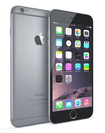 Apple Space Gray iPhone 6 Plus showing the home screen with iOS 8.The new iPhone with higher-resolution 4.7 and 5.5-inch screens, improved cameras, new sensors, a dedicated NFC chip for mobile payments. Apple released the iPhone 6 and iPhone 6 Plus on Sep