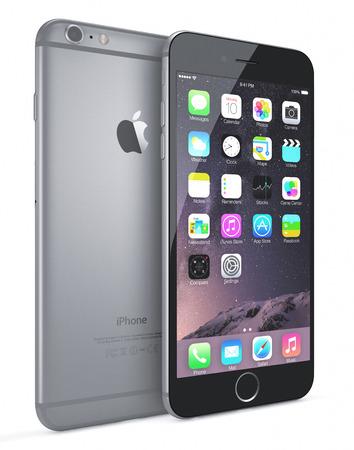 IPhone アップル スペース グレー 6 高解像度画面 4.7 と 5.5 インチ画面、改良されたカメラ、新しいセンサーを持つ新しい iPhone iOS 8. とホーム画面を表 報道画像