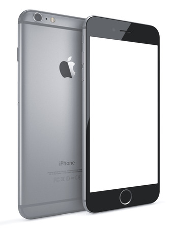 new and improved: Apple Space Gray iPhone 6 Plus with blank screen.The new iPhone with higher-resolution 4.7 and 5.5-inch screens, improved cameras, new sensors, a dedicated NFC chip for mobile payments. Apple released the iPhone 6 and iPhone 6 Plus on September 9, 2014. Editorial
