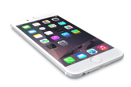 リンゴ銀 iPhone 6 高解像度画面 4.7 と 5.5 インチ画面、改良されたカメラ、新しいセンサーを持つ新しい iPhone iOS 8. とホーム画面を表示、プラス専用 NF