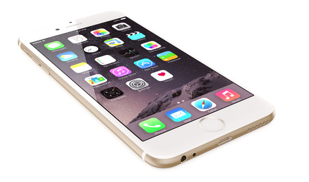 Apple Gold iPhone 6 Plus showing the home screen with iOS 8.The new iPhone with higher-resolution 4.7 and 5.5-inch screens, improved cameras, new sensors, a dedicated NFC chip for mobile payments. Apple released the iPhone 6 and iPhone 6 Plus on September Editöryel