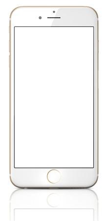 金アップルの iPhone 6 プラス白空白の画面。高解像度画面 4.7 と 5.5 インチ画面、改良されたカメラ、新しいセンサーを持つ新しい iPhone モバイル決済 報道画像