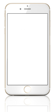 new and improved: Apple Gold iPhone 6 Plus with white blank screen.The new iPhone with higher-resolution 4.7 and 5.5-inch screens, improved cameras, new sensors, a dedicated NFC chip for mobile payments. Apple released the iPhone 6 and iPhone 6 Plus on September 9, 2014. Editorial