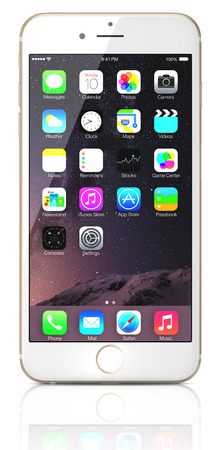 Apple Gold iPhone 6 Plus showing the home screen with iOS 8.The new iPhone with higher-resolution 4.7 and 5.5-inch screens, improved cameras, new sensors, a dedicated NFC chip for mobile payments. Apple released the iPhone 6 and iPhone 6 Plus on September Editorial