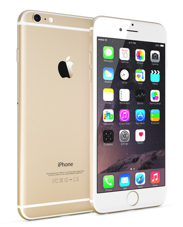 Galati, Romania - September 18, 2014: Apple Gold iPhone 6 Plus showing the home screen with iOS 8.The new iPhone with higher-resolution 4.7 and 5.5-inch screens, improved cameras, new sensors, a dedicated NFC chip for mobile payments. Apple released the i