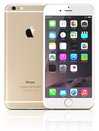 galati: Galati, Romania - September 18, 2014: Apple Gold iPhone 6 Plus showing the home screen with iOS 8.The new iPhone with higher-resolution 4.7 and 5.5-inch screens, improved cameras, new sensors, a dedicated NFC chip for mobile payments. Apple released the i