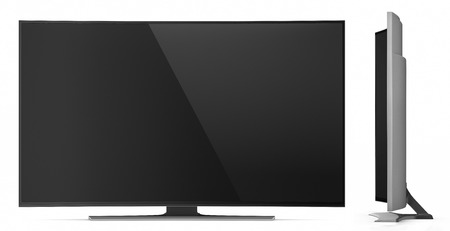 UHD Smart Tv with Curved Screen on White Background
