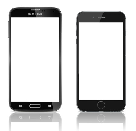 Comparison of Samsung Galaxy S5 and Apple iPhone 6 side by side. Samsung Galaxy S5 is the newest smart phone from Samsung and Apple Silver iPhone 6 Plus showing the home screen with iOS 8.