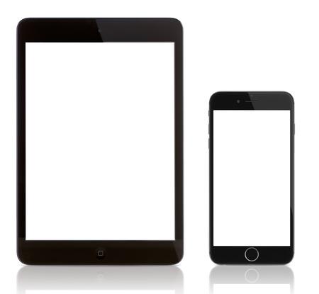 ガラティ、ルーマニア - 2014 年 9 月 23 日: iPad のミニと白の iPhone 6。6 の iPhone と iPad に空白の画面。アップルのリリース iPhone 6 と iPhone 6 プラス 2014