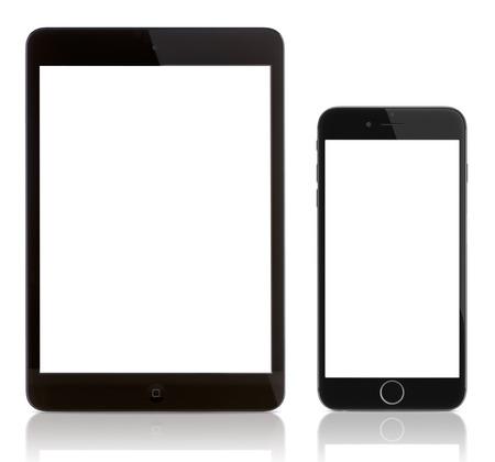 Galati, Romania - September 23, 2014: iPad Mini and iPhone 6 Plus on white. Blank screen on the iPhone 6 and iPad. Apple released the iPhone 6 and iPhone 6 Plus on September 9, 2014.