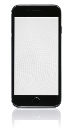 Galati, Romania - November 6, 2014: Apple Space Gray iPhone 6 showing blank screen.The new iPhone with higher-resolution 4.7 screens, improved cameras, new sensors, a dedicated NFC chip for mobile payments. Apple released the iPhone 6 and iPhone 6 Plus on Editorial