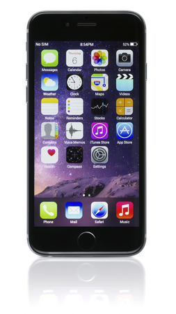 Galati, Romania - November 6, 2014: Apple Space Gray iPhone 6 showing the home screen with iOS 8.The new iPhone with higher-resolution 4.7 screens, improved cameras, new sensors, a dedicated NFC chip for mobile payments. Apple released the iPhone 6 and iP Editorial