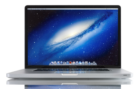 Studio shot of brand new Apple MacBook Pro laptop computer by Apple Inc. on a white background. This MacBook Pro has a 17-inch antiglare widescreen display and is running the OS X Snow Leopard 10.6.3 operating system.