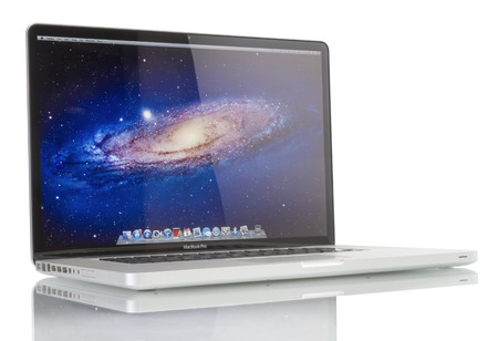 Galati, Romania - December 08, 2014: Studio shot of brand new Apple MacBook Pro laptop computer by Apple Inc. on a white background. This MacBook Pro has a 17-inch antiglare widescreen display and is running the OS X Snow Leopard 10.6.3 operating system.
