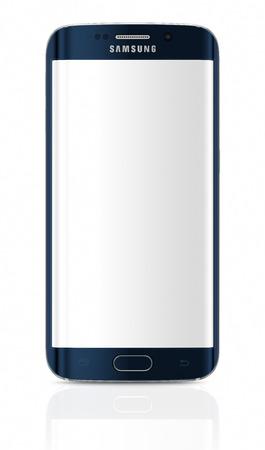 サムスン銀河 S6 エッジはデュアル カーブ ガラスの表示の最初のデバイスです。サムスン銀河 S6 と銀河 S6 エッジは、バルセロナでのプレス イベン 報道画像