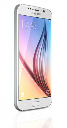 samsung galaxy: Galati, Romania - April 27, 2015: White Pearl Samsung Galaxy S6 smartphone on white background. The telephone is supported with 5.1 touch screen display and 1440 x 2560 pixels resolution.  The Samsung Galaxy S6 was launched at a press event in Barcelona  Editorial