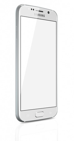 samsung galaxy: Galati, Romania - April 27, 2015: White Pearl Samsung Galaxy S6 with blank screen on white background. The telephone is supported with 5.1 touch screen display and 1440 x 2560 pixels resolution. The Samsung Galaxy S6 was launched at a press event in Barc Editorial