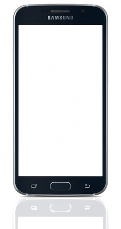 samsung galaxy: Black Sapphire Samsung Galaxy S6 with blank screen on white background. The telephone is supported with 5.1 touch screen display and 1440 x 2560 pixels resolution.  The Samsung Galaxy S6 was launched at a press event in Barcelona on March 1 2015.