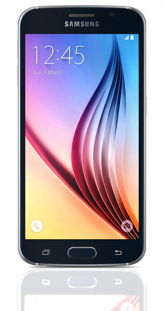 samsung galaxy: Black Sapphire Samsung Galaxy S6 on white background. The telephone is supported with 5.1 touch screen display and 1440 x 2560 pixels resolution.  The Samsung Galaxy S6 was launched at a press event in Barcelona on March 1 2015.