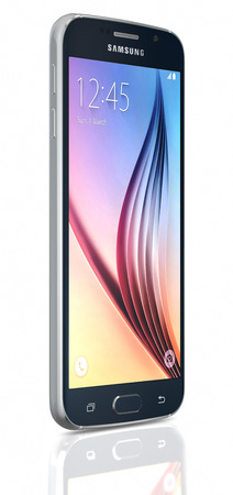 samsung galaxy: Black Sapphire Samsung Galaxy S6  on white background. The telephone is supported with 5.1 touch screen display and 1440 x 2560 pixels resolution.  The Samsung Galaxy S6 was launched at a press event in Barcelona on March 1 2015. Editorial