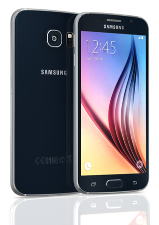 samsung: Black Sapphire Samsung Galaxy S6 on white background. The telephone is supported with 5.1 touch screen display and 1440 x 2560 pixels resolution.  The Samsung Galaxy S6 was launched at a press event in Barcelona on March 1 2015.