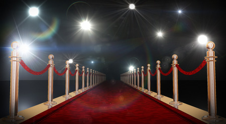 Red carpet with gold barriers, velvet ropes and flashlights in the background. 3D rendering in 16bit.