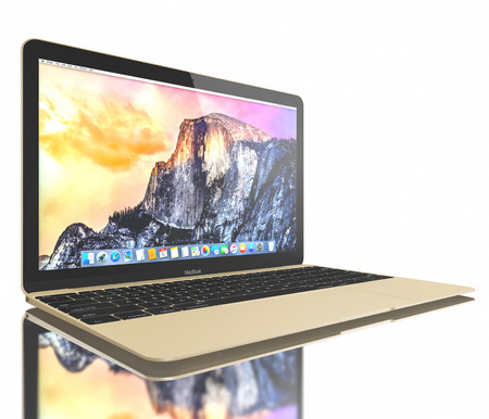 operating system: Gold MacBook displaying OS X Yosemite. The New MacBook is not only Apples thinnest and lightest, but more functional and intuitive than ever before. It has a 12-inch Retina display with a resolution of 2304 x 1440. The new MacBook was launched on April 1