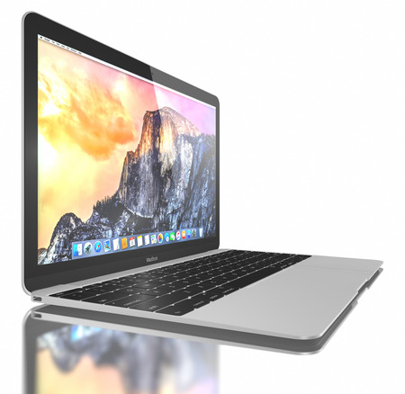 macbook: New Silver MacBook displaying OS X Yosemite. The New MacBook is not only Apples thinnest and lightest, but more functional and intuitive than ever before. It has a 12-inch Retina display with a resolution of 2304 x 1440. The new MacBook was launched on A Editorial