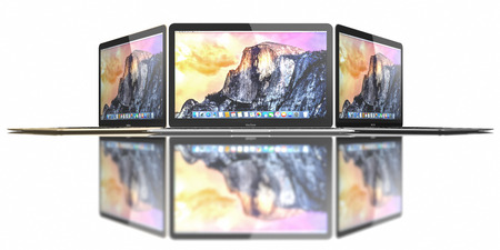 Gold, Silver and Space Gray of MacBook displaying OS X Yosemite. The New MacBook is not only Apples thinnest and lightest, but more functional and intuitive than ever before. It has a 12-inch Retina display with a resolution of 2304 x 1440. The new MacBo Editorial