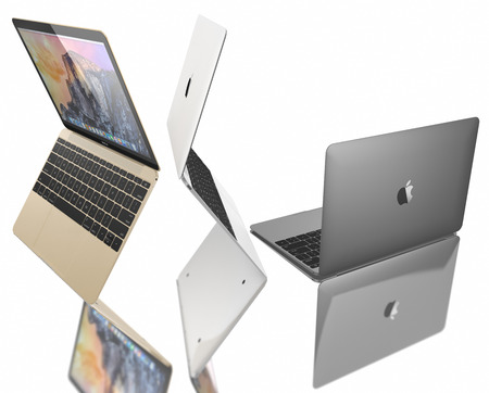 macbook: Gold, Silver and Space Gray of MacBook displaying OS X Yosemite. The New MacBook is not only Apples thinnest and lightest, but more functional and intuitive than ever before. It has a 12-inch Retina display with a resolution of 2304 x 1440. The new MacBo Editorial