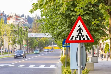 traffic regulation: Zebra crossing, pedestrian cross warning traffic sign Stock Photo