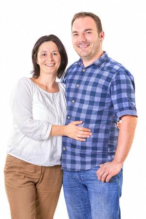 happy couple white background: Portrait of happy couple isolated on white background.
