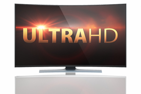 ultra: UltraHD Smart Tv with Curved screen on white background Stock Photo