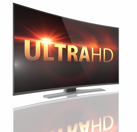lcd tv: UltraHD Smart Tv with Curved screen on white background Stock Photo