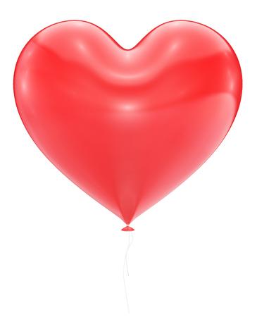 白い背景に分離された大きな赤いハートのバルーン