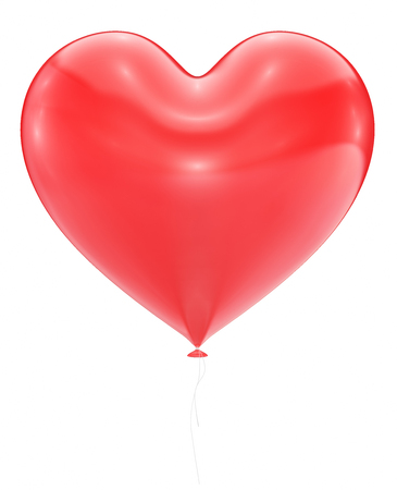 romantic love: Big Red Heart Balloon Isolated On White Background