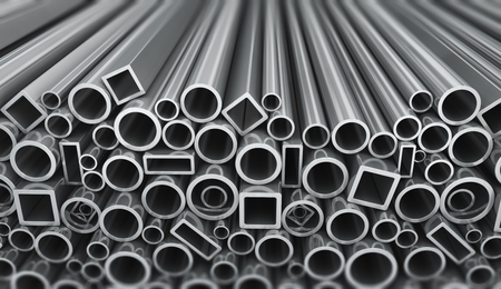 metal industry: Metal profile and pipes on white background Stock Photo