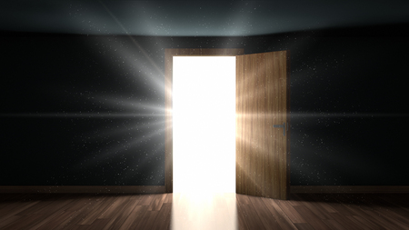 Light and particles in a dark room through the opening door