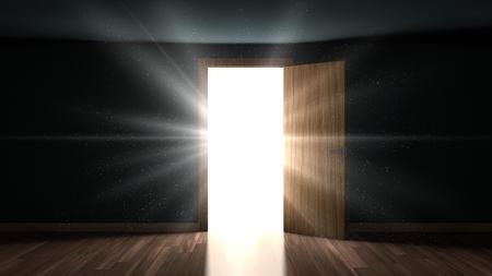 오프닝 문을 통해 어두운 방에 빛과 입자 스톡 콘텐츠