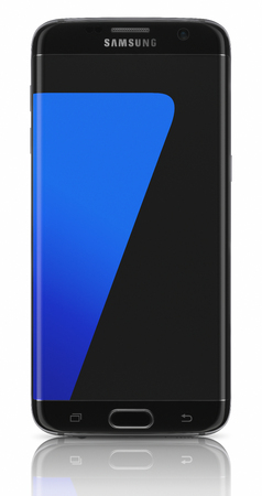 mp: Galati, Romania - March 23: Samsung Galaxy s7 Edge, with 12 MP Camera, quad-core 2,6 GHz and 1440 x 2560 pixels Display Resolution. Samsung has presented at MWC in Barcelona, Spain on February 21, 2016.