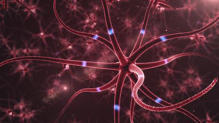 nerve cell: Neurons abstract background.  3d rendered close up of an active nerve cell Stock Photo