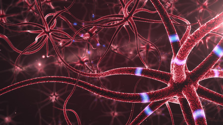 dendrites: Neurons abstract background. 3d rendered close up of an active nerve cell