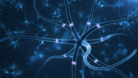 nerve cell: Neurons abstract background. 3d rendered close up of an active nerve cell