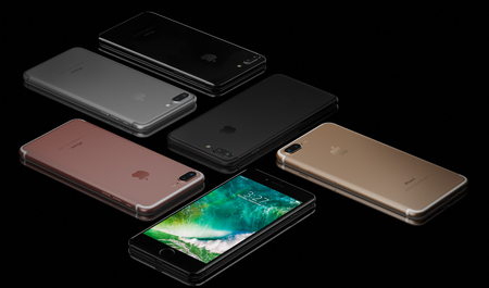 galati: 3D rendering of Jet Black, Black, Rose Gold, Gold, Silver iPhone 7 Plus on black background. The iPhone 7 Plus is smart phone with multi touch screen produced by Apple Computer, Inc. Galati, Romania - October 03, 2016