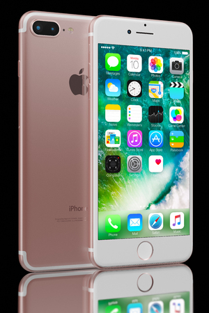 3D rendering of Rose Gold iPhone 7 Plus on black background. The iPhone 7 Plus is smart phone with multi touch screen produced by Apple Computer, Inc. Galati, Romania - September 28, 2016 Editorial
