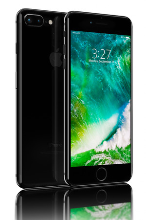 galati: Galati, Romania - October 05, 2016: 3D rendering of Jet Black iPhone 7 Plus on black background. Devices displaying the applications on the home screen. The iPhone 7 Plus is smart phone with multi touch screen produced by Apple Computer, Inc. Editorial