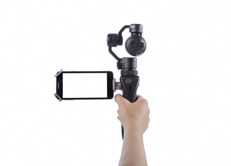 Innovative digital camera is a new generation with electronic stabilizer. Isolated on white background.