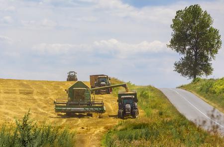 Combine harvester in action on wheat field. Palouse harvest season. Stock Photo