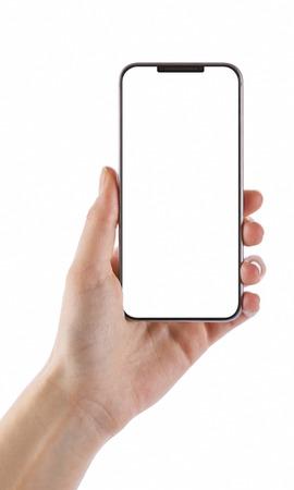 Hand des jungen Mädchens, die schwarzes intelligentes Telefon lokalisiert auf weißem Beschneidungspfad nach innen hält